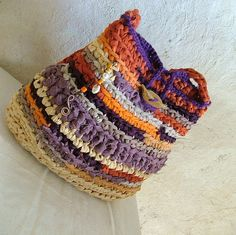 Rag bag crochet shoulder bag colorful por MammaEarthCreations