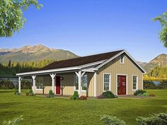 This lovely country house plan gives you 1000 sq. 2 bedrooms 1 bathroom an open floor plan and a vaulted great room. Explore Plan on our website. Metal House Plans, Barn House Plans, Ranch House Plans, Small House Plans, Cabin Plans, 1000 Sq Ft House, Country Style House Plans, Small Country Houses, Small Houses