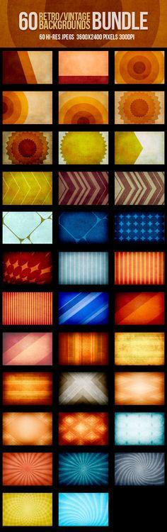 60 Retro Vintage Backgrounds by DesignWorkz on Creative Market