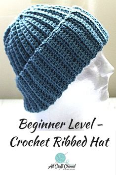 Learn to crochet this easy and beautiful Beginner level Crochet Ribbed hat.  It can also be worn as a slouchy beanie.  It can be worn by both men and women.  Check out the free written pattern which includes the links to my free YouTube video tutorial.  Visit site today.    #Crochetbeanie #Beanie #Slouchiebeanie #Ribbedhat #Crochetribbedhat #Hats #winterwear #Stayingwarm #crocheting