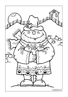 Halloween Fall Scarecrow Coloring Pages - Coloring Ideas