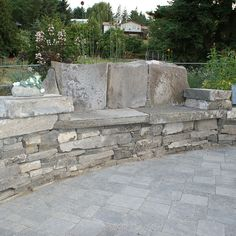 stone bench in wall
