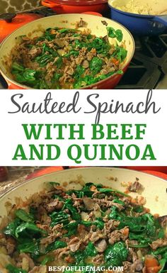 This recipe for sautéed spinach and beef can be served with quinoa or brown rice and allows you to get in a large serving of healthy spinach in the process! The best part is that everyone in the family will love this easy recipe. Lunch Recipes, Easy Dinner Recipes, Mexican Food Recipes, Beef Recipes, Drink Recipes, Spinach Recipes, Cauliflower Recipes, Clean Eating Recipes, Easy Healthy Recipes