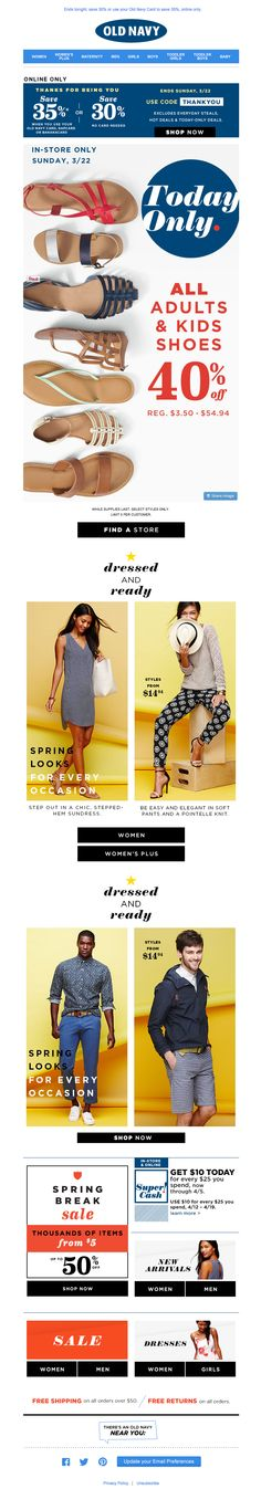 Old Navy | newsletter | fashion email | fashion design | email | email marketing | email inspiration | e-mail