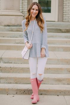 Striped Peplum + Pink Hunters | Twenties Girl Style