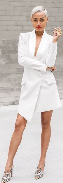 White Asymmetrical Taylor Long Line Blazer