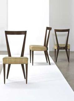 Gio Ponti; Walnut Side Chairs, c1950.