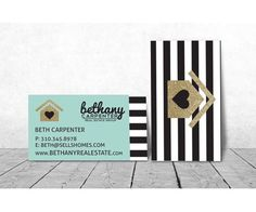 Key shaped business cards what a great way to represent the key to bw stripes gold modern realtor business cards or any profession logo of house can be anything mint green by ladyluckpr colourmoves