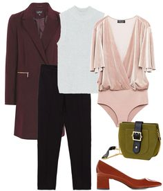 4 looks con body falso. Light grey metallized turtleneck sleeveless sweater+blush velvet bodysuit+black pants+brown patent leather pumps+burgundy coat+olive green chain shoulder bag. Fall Casual Business Outfit 2016