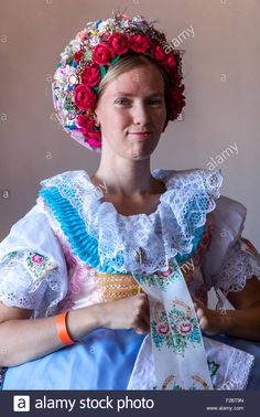 Woman in folk costume, Velke Pavlovice, South Moravia, Czech Republic, Europe -