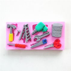 Popular Tools Silicone Cake Fondant Mold Topper Hammer Spanner Baking Mould  #4871
