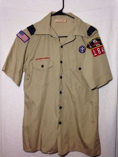 BOY SCOUTS OF AMERICA Uniform Short Sleeve Shirt Youth Size XL, 7 Patches