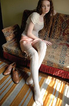 lace rib stockings in a handknit romance by jennie atkinson