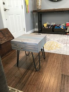 """End table made from reclaimed  6x21"""" glue lam beam"""