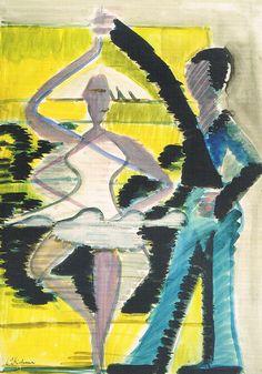 Danspaar. Ernst Ludwig Kirchner. Postkaart