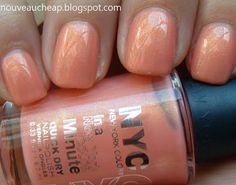 NYC Limited Edition Summer In The City Collection: Peach Sparkle    Nars Orgasm polish dupe? Possibly!  I bought two bottles :)