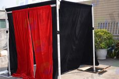 Below are the information about our pipe drapes and photo booth enclose: •Perfect for ready to use Photo Booth Enclosures, Temporary Dressing Rooms, or other small areas where privacy is required. •No camera or other photographic equipment is included •Fits beneath 8ft ceilings  •Each side is adjustable between 4ft and 7ft in width  •Easy no tool set up/break down, less than 10 minutes!