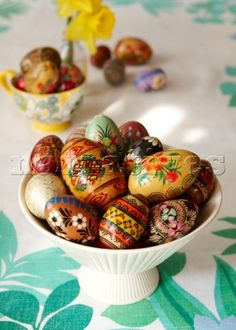 Hand painted Easter eggs in London home  England  UK