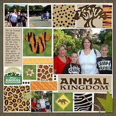 "animal kingdom scrapbook page | Animal Kingdom"". Love the blocks of animal print, especially Mickey's ..."