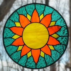 Items similar to Stained Glass Sun Yellow Orange Teal Round Suncatcher on Etsy Stained Glass Cookies, Stained Glass Suncatchers, Stained Glass Flowers, Faux Stained Glass, Stained Glass Designs, Stained Glass Projects, Stained Glass Patterns, Acrylic Wall Art, Mandala Drawing