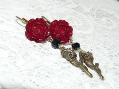 Red Rose Earrings. Rose Jewelry. Art Nouveau. by judysmithdesigns, $19.95
