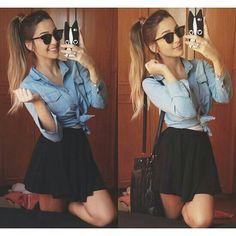 Simple black skirt denim top cute cute cute