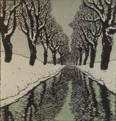 Carl Moll, woodcut. Bach im Winter (II), 1912