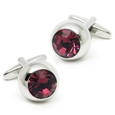Romance Purple Crystal Round Cufflinks for men
