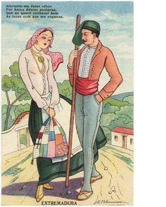 """Quadra Popular portuguesa: """"Alevanta-me esses olhos/Por baixo dessas pestanas,/Que eu quero conhecer bem/As luzes com que me enganas."""" - vintage regional illustrations of Portuguese People"""