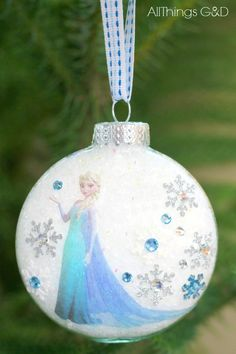 DIY Princess Elsa Ornament made using stickers and a tattoo