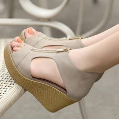 Cheap sandals summer, Buy Quality shoes woman platform directly from China wedge sandals Suppliers: Lotus Jolly Women Wedge Sandals Summer Casual Shoes Woman Platform Wedges Vintage High Heels Zippers Sandalias Zapatos Mujer Wedge Sandals, Wedge Shoes, Summer Wedges Shoes, Women's Shoes, Wedges Outfit, Shoes Sneakers, Cheap Sandals, Stylish Sandals, Low Wedges