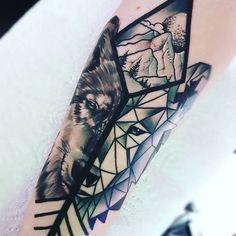 Wolf Geometry Tattoo (featured on Tattoo Fixers)