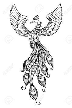 Phoenix Bird emblem drawn in tattoo style., Phoenix Bird emblem drawn in tattoo style. Phoenix Painting, Phoenix Artwork, Phenix Tattoo, Phoenix Bird Tattoos, Phoenix Bird Images, Tribal Wings, Wings Sketch, Symbols Of Strength Tattoos, Marquesan Tattoos