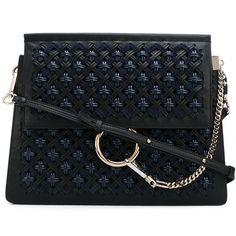 Chloé Faye shoulder bag ($2,725) ❤ liked on Polyvore featuring bags, handbags, shoulder bags, black, leather purses, shoulder hand bags, shoulder bag handbag, real leather purses and leather handbags