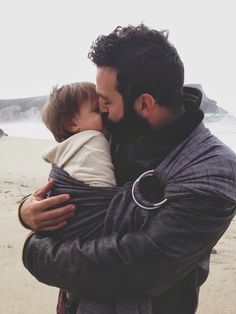 father with black beard and baby at the beach thick full black beards dad dads baby babies parent parents family carrier love Family Goals, Family Love, Fathers Love, Father And Son, Jolie Photo, Baby Kind, Baby Wearing, Baby Fever, Future Baby