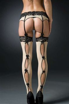 Black Lingerie- Thigh Highs Panty Hose- Open back Bow detail - New on Etsy, $60.00