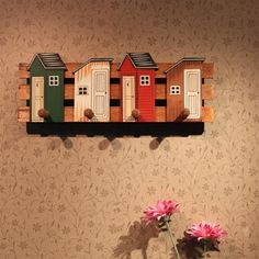 PINJEAS Creative Cartoon House Home Decor Kids Room Coat Holder Housekeeper Hat Hanger Wooden Carfts Gifts Garden Decor Hangers
