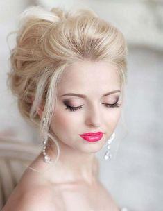 Bridal makeup with pink lipstick