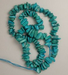 "Sleeping Beauty Turquoise 3mm to 5mm Chip Beads Blue 9"" Std Craft jewelry  # 291…"