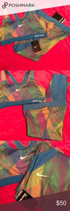 Nike Dri-Fit workout sports bra and Capri BRAND NEW WITH TAGS!!!  Sports bra (m) and Capri (s) breathable, movable, comfortable material, super colorful! Perfect for spring and summer! Nike Pants Capris