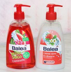 Balea Melon Tango Cremeseife / Balea Creme Seife Erdbeere http://www.talasia.de/2014/05/30/new-in-drogerie-einkufe-bei-dm-rossmann-mai/