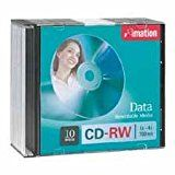 Imation Products  CD-RW 4X 700MB/80Min Branded 10/PK Silver  Sold as 1 PK  CD-RW media offers maximum reliability and performance at recording speeds of 4X. The branded rewritable disks provides up to 700MB or 80 minutes of recording time. Features increased recording speed and noise-free playback for a wide range of rewritable applications including database backup and archiving Internet and file downloads audio files photos presentations and transporting large files. Requires spee