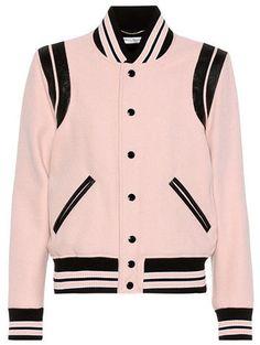 Classic Teddy beige wool-blend varsity jacket by Saint Laurent. Silk Bomber Jacket, Blazer Jacket, Bomber Jackets, Varsity Jackets, Blouson Rose, Pink Jacket, Jacket Style, Pulls, Wool Blend