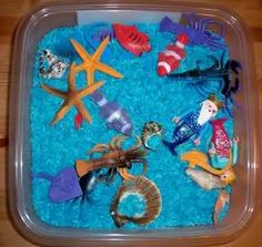 Ocean Odyssey theme unit-blue rice and other Dollar Tree ocean items