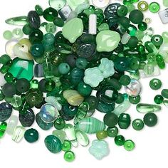 Bead mix, Preciosa Czech pressed glass, green, 4x2mm-15x12mm mixed shapes. Sold per pkg of 1/4 pound, approximately 310 beads.