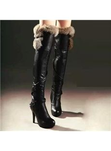 #shoespei @Shoespie Shoesbox www.shoespie.com/  Chic Sexy Fur Leather Stiletto Heels  Over Knee High Bootslove those