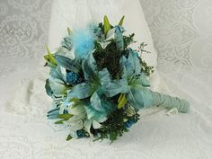 Wedding Bouquet- Mint-Turquoise-Teal-Aquamarine- Bride's Alternative Bouquet- Vintage Buttons- Aquamarine Leather-Complementary Boutonniere on Etsy, $133.64