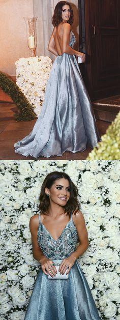 2017 long prom dress evening dress, blue long homecoming dress prom dress, formal evening dress, backless party dress