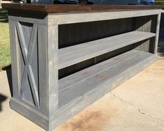 This farmhouse style TV console is perfect for storing your electronics, or us it in the dining room as a sideboard to hold serving dishes and decor. Designed by The Gritty Porch with building plans by Remodelaholic. Wood Sideboard, Tv Console, Rustic Tv Stand, Furniture Plans, Sideboard Furniture Plans, Farmhouse Tv Console, Sideboard, Sideboard Console, Woodworking Furniture Plans