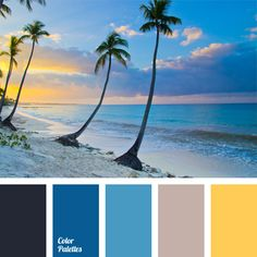 Palette Combination of shades of ocean water and sea sand is naturally supplemented with sunny yellow. This palette is perfect for decoration of a spacious bathroo.Sunny Sunny may refer to: Beach Color Schemes, Beach Color Palettes, Colour Schemes, Color Combinations, Blue Shades Colors, Blue Colour Palette, Color Blue, Beach Shade, Blue Beach